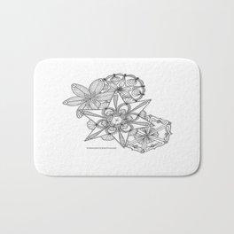 Vermont Zentangle Snow Flakes Illustration Bath Mat