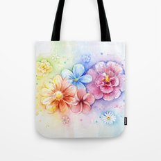 Flowers Watercolor Floral Colorful Rainbow Painting Tote Bag