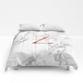 Monogram rose gold marble Z Comforters