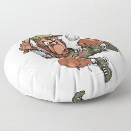 Baseball Monkey - Teak Floor Pillow