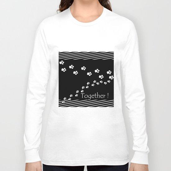 Together ! Black and white illustration . Long Sleeve T-shirt