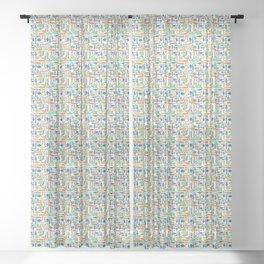 Retro Fish White Sheer Curtain