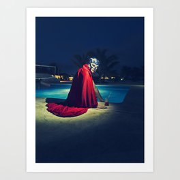 mexican luchador at the pool Art Print