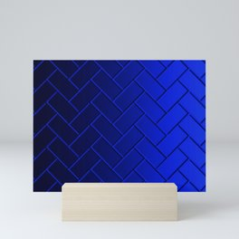 Herringbone Gradient Dark Blue Mini Art Print