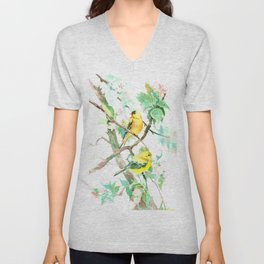 American Goldfinch and Apple Blossom Unisex V-Neck