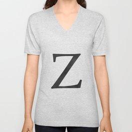 Letter Z Initial Monogram Black and White Unisex V-Neck