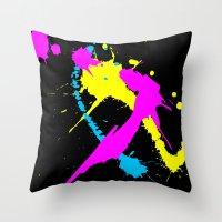 splatter Throw Pillows featuring Splatter by Spooky Dooky