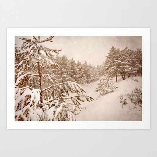 White forests. Vintage. Art Print