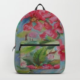 Quince blossom Red flowers Floral nature painting Impressionistic Oil sketch Backpack