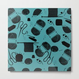 yarn teal Metal Print