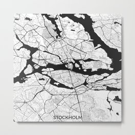 Stockholm Map Gray Metal Print