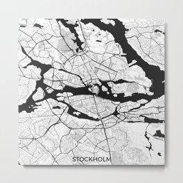 Stockholm Map Gray Metal Print