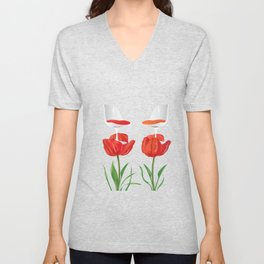 Tulip a chair and stay a while Unisex V-Neck
