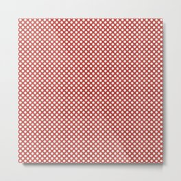 Aurora Red and White Polka Dots Metal Print