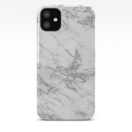 Elegant chic white gray silver glitter marble iPhone Case