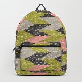 Kilim Weaving Structure Green & Blush Backpack