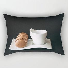 Set of cup of coffee and macaroons against black background Rectangular Pillow