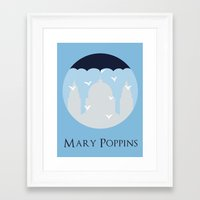 mary poppins Framed Art Prints featuring Mary Poppins by Citron Vert