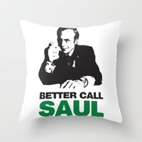 better call saul Throw Pillows featuring Better Call Saul by Harry Martin