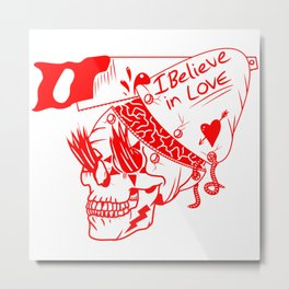 I believe in love Skull Metal Print