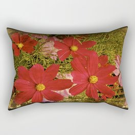 Vintage Red Cosmos Rectangular Pillow