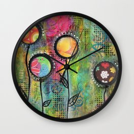 """Bloom"" | Original painting by Mimi Bondi Wall Clock"