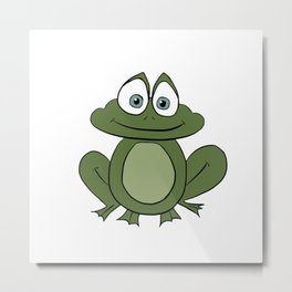 Froggy Frog - Cute Kids Bedroom/Bathroom Art Metal Print