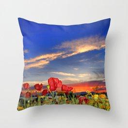 Poppies at sunset Throw Pillow