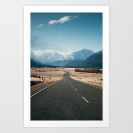 Road to Mt Cook, New Zealand Art Print