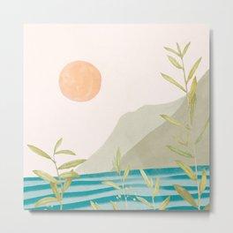 Setting Sun over the Sea 2 Metal Print