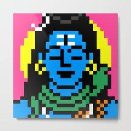 Shiva Pixel Portrait Metal Print