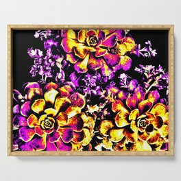 Purple Yellow Flower Plant, Pop Art Serving Tray