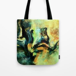 Yellow and Green Abstract Art / Surrealist Painting Tote Bag