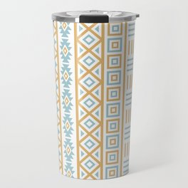 Aztec Influence Pattern Blue White Gold Travel Mug