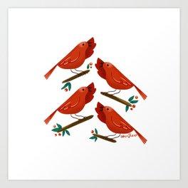 12 Days of Christmas: 4 Calling Birds Art Print