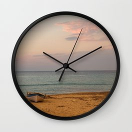 Sunset at the Beach in Greece Wall Clock