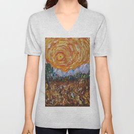 Trees, Yellow Sky and Sun Inspired by Vincent Van Gogh's Painting Unisex V-Neck