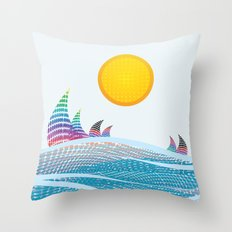 Sun and sea in CMYK Throw Pillow