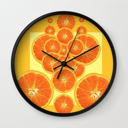 CONTEMPORARY ORANGE SLICES  ABSTRACT MODERN ART Wall Clock