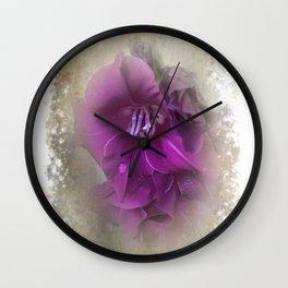 Purple Gladiolas Wall Clock