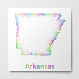 Rainbow Arkansas map Metal Print