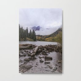 Maroon Bells in the Rain Metal Print
