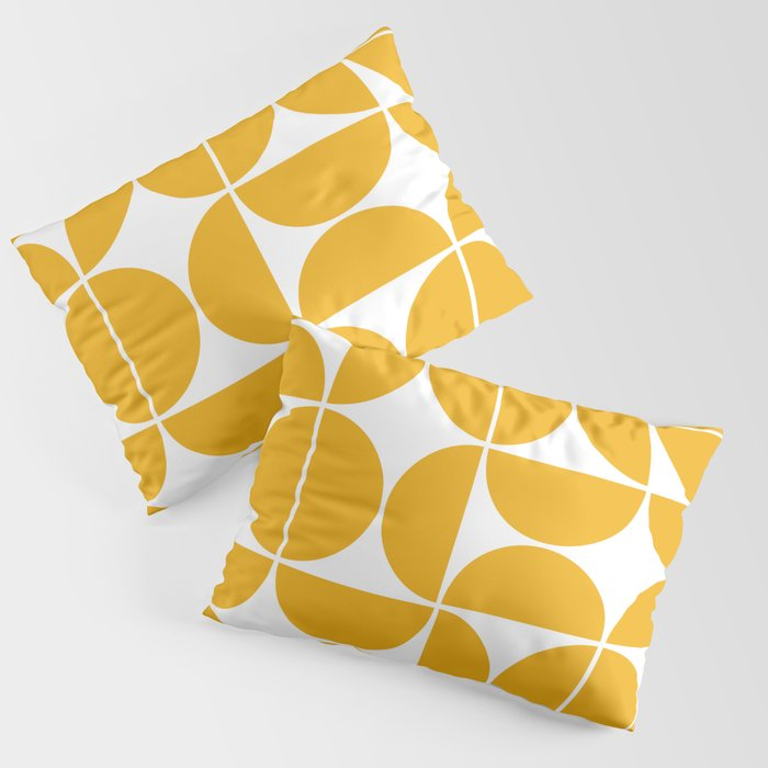 Mid Century Modern Geometric 04 Yellow Kissenbezug