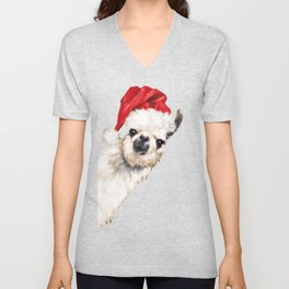 Christmas Sneaky Llama Unisex V-Neck
