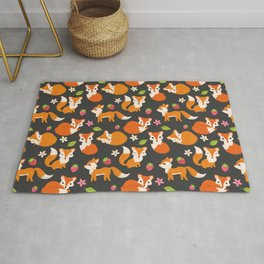 Cute Fox Illustration with Strawberries and Flowers Rug