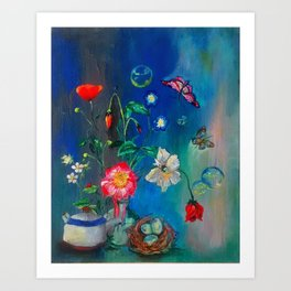 Flowers in Cobalt Art Print