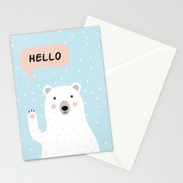 Cute Polar Bear in the Snow says Hello Stationery Cards
