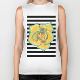 Yellow and Turquoise Rose on Stripes Biker Tank