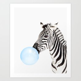 Zebra, Bubble gum, Blue, Animal, Nursery, Minimal, Trendy decor, Interior, Wall art Art Print