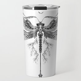 Dragon Fly Tattoo Black and White Travel Mug
